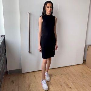 Ribbed mock collar dress
